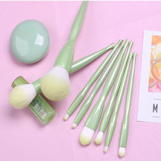 8 PCS Green Shiny Custom Logo Makeup Brushes Applying Liquid And Powder Flawlessly supplier