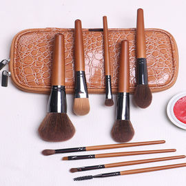 9 Pieces Wooden Handle Full Makeup Brush Set Synthetic Hair / Wool Heads