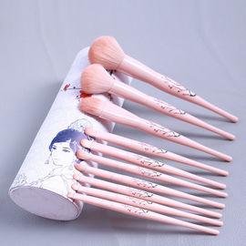 China Private Label Teens 7 PCS Face Makeup Brush Rose Quartz Handle Design factory